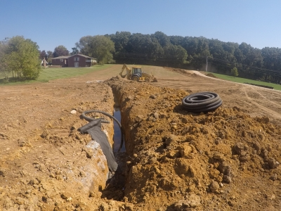 French drain installed in New Albany, Indiana
